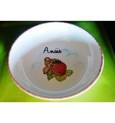 Assiette à bouillie souris fraise