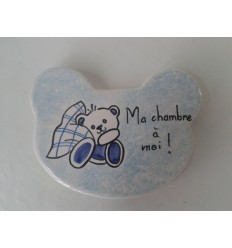 Plaque de porte ourson bleu