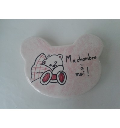 Plaque de porte ourson rose