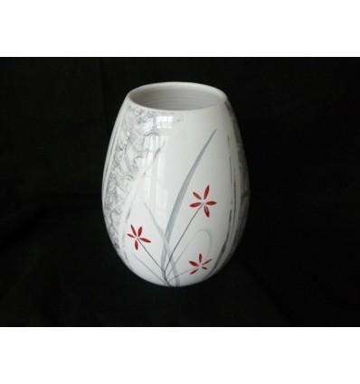 Vase oeuf jardin zen gris et rouge
