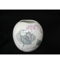 Vase boule coquelicots gris mauve