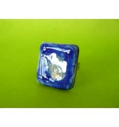 Bague carrée bleue