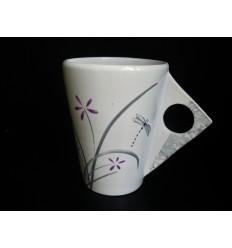 Mug graphique jardin zen violet et gris