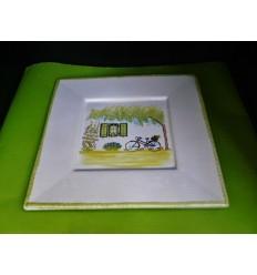Assiette plate île de Ré vert