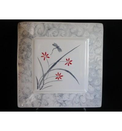 Assiette plate jardin zen gris et rouge