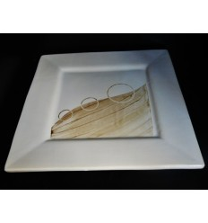 Assiette plate effilée taupe