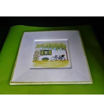Assiette à dessert île de Ré vert