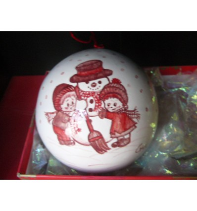 Boule de Noël bonhomme de neige rouge