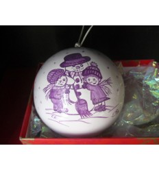 Boule de Noël bonhomme de neige violet