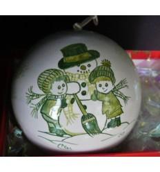 Boule de Noël bonhomme de neige vert