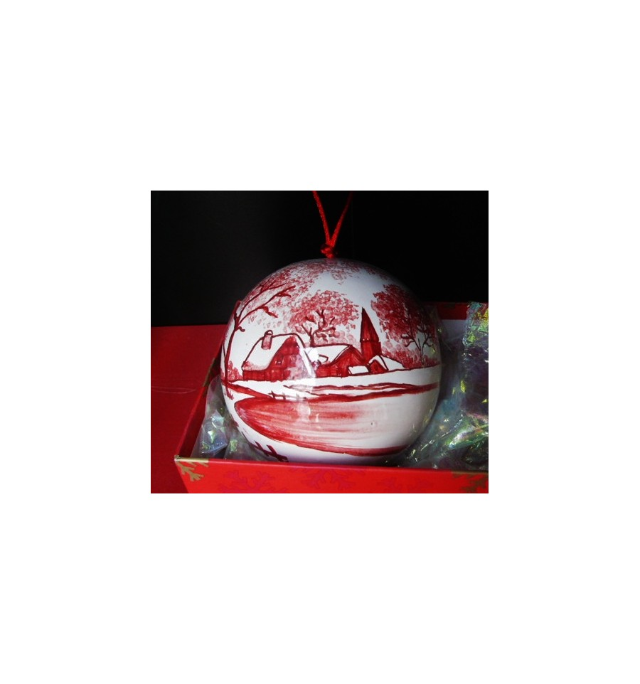 Boule de no l village enneig rouge poterie saint - Boule de noel rouge ...